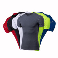 Wholesale mens base layer t shirts online – design 2017 Mens Gyms Clothing Fitness Compression Base Layers Under Tops T shirt Running Crop Tops Skins Gear Wear Sports Fitness