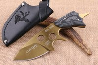 Wholesale Coating Knife - 2016 New SAR Survival Straight Knife D2 58-60HRC Gold Coated Blade G10 Handle Knife Outdoor Camping Hunting Survival Rescue Knives