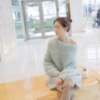 Wholesale Women Korean Style Flat - Wholesale-Autumn winter Korean style women pullover tops long section strapless collar plush sweater female causal loose mohair sweaters