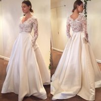 Wholesale Engagement Dress Red - 2017 Lace Wedding Dress See Through Sexy Bridal Gown Long Sleeves V Neck Engagement Dresses Custom Made Satin A Line With Pocket