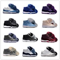 Wholesale White Suede Shoes For Men - High quality Retro 11 Velvet Heiress Wool Suede 72-10 Gamma Space Jam Basketball Shoes for Cheap Airs 11s XI Midnight Navy Sneakers Size8-12