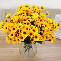 Vente en gros-14 Head Simulation fausse tournesol bouquet de fleurs artificielles en soie Home Wedding Floral Decor Valentine's Day