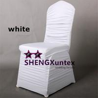 ingrosso copertina della sedia dell'increspatura dello spandex-Coprisedile in Spandex bianco con increspature \ Coprisedile in Lycra elasticizzato di alta qualità
