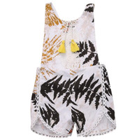Wholesale Suspender Jumpsuit - Baby romper 2017new baby girls lace tassel romper todder kids Bamboo printed suspender shorts jumpsuit baby clothing A0594