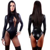 Wholesale Long Sexy Bodysuits - Women's Jumpsuit Black Sexy Leather Dresses Long Sleeve Bodysuits Erotic Leotard Latex Catsuit Costume 2017 dongguan_wholesale in stock