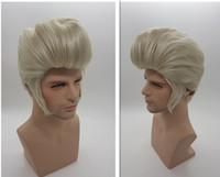 Wholesale Synthetic Wigs For Men - Silver white Elvis Presley Hairstyle Short Wigs for Men Cosplay Natural Synthetic Hair Pelucas Perruque Homme Peruca Pruiken Peruk XT861