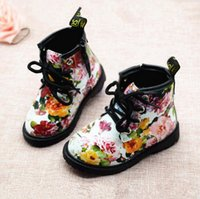 Wholesale Flower Girl Boots - 2017 Fashion Printing floral hildren Shoes Girls Boots PU Leather Cute Baby Boots Comfy Ankle Kids Girl Martin Shoes Size 21-30