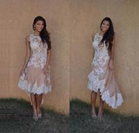красивые высокие платья выпускного вечера оптовых-2017 красивый высокий низкий шампанское коктейльные платья специальный стиль аппликации короткие передняя длинная спина платье выпускного вечера вечерняя одежда ballkleider дешевые