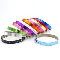 Wholesale Pu Leather Wristband 8mm - 50pcs lot PU Leather Metal Smooth wristband mix color 8*210mm fit 8mm slide charms letters popular DIY Accessory bracelet WB034