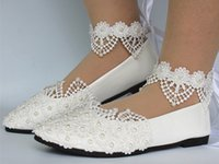 Wholesale White Lace Flat Bridal Shoes - New Fashion Free Shipping White light ivory lace pearls flat ballet Wedding shoes Bridal