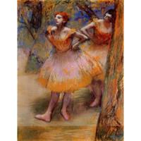 sanat resim dansçıları toptan satış-Edgar Degas tarafından iki Dansçılar Yağlıboya modern sanat Yüksek kaliteli El boyalı
