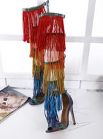 Wholesale Medium Long Dresses - summer mixed color tassel over the knee high boots layers fringe long boots peep toe thin heel shoes free shipping on sale