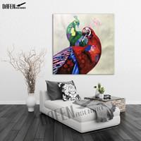 ingrosso pavone di pittura di tela di arte della parete-Happy Peacock 100% dipinto a mano dipinti ad olio animale Divertente fumetto Picture Paint su tela Modern Wall Art Home Decoration