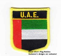 Wholesale Wholesale Uae - UAE Shield Shape Flag patches embroidered flag patches national flag patches Free Shipping