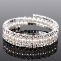 Wholesale luxury bridal crystal bracelet - Luxury Pearls 3 Rows Rhinestones Stretch Bangle Wedding Bracelets Bridal Jewelry Cheap Crystals Bracelet For Bride Evening Prom Party