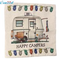 Wholesale Happy Hotels - Wholesale- Homey Design 1PC Happy Campers Print Pillow Cover Cotton Linen Pillow Case Home Decorative Pillow Case JA19