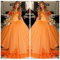 Wholesale Stunning Princess Prom Dresses - 2017 Off Shoulder 3D Floral Flowers Quinceanera Ball Gowns Sweety 16 Dresses Stunning Orange Corset Puffy Princess Prom Dress
