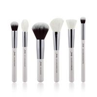 amortiguador de polvo al por mayor-Jessup 6 unids Pearl White / Silver Pinceles de maquillaje profesional Conjuntos de maquillaje Herramientas de belleza Cosméticos Buffer Pintura Cheek Highlight Powder