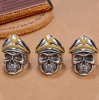 Wholesale Retro Men Officers Skeleton Head Punk Double Eagle Hat Ring Gorgeous Gift Delicate Open Adjustable Ring Accessories