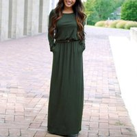 Wholesale Solid Maxi Dresses Wholesale - Casual Simple Women Solid Dresses Spring Autumn Floor-length dress O-Neck Full Sleeves Slim Thin Dress Free shipping