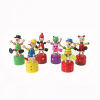 Wholesale puppet online - Dance Clown Toy Wooden Buffoon Sat Barrels Swing One Finger Play Creative Multicolor Select Various Styles CM cw I1