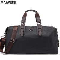 Wholesale large leather hand bags - Wholesale- MAIWEINI New Fashion Leather Mens Travel Bags Large Capacity Waterproof Duffle Bag Vintage Hand Luggage Shoulder Bag