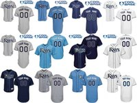 Wholesale Rays Light - Tampa Bay Rays Men's custom any name number grey light blue navy blue white Cool Base and flexbase Jerseys Top Qulity Stitched Size S-5XL