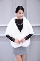 Wholesale Korean Garments Red - 2017 Winter Wedding Bolero Coat Bridal Faux Fur Wraps Warm shawls Outerwear Red White Korean Style Women Jacket Prom Evening Party
