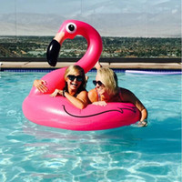 Wholesale Inflatable Floating Mat - Giant Flamingo Swimming Ring 120cm Inflatable Mattress Float Mat Air Buoy Swim Circle Beach Water Game Sports Pool Toys