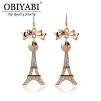 Wholesale eiffel earrings - Wuji Fashion Gold Plated Paris Eiffel Tower Shaped Drop Earrings Trendy Knot Bowknot Rhinestones Dangle & Chandelier Ear Jewelry For Lady