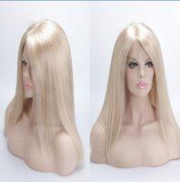 perruques de dentelle moitié cheveux vierges achat en gros de-# 613 Straight Blond Wig Est Full Lace Wig Mes chaussures et la moitié d'un bébé À propos de brésilien Virgin Hair Silk d'une perruque de cheveux humains remplit immédiatement mon
