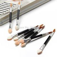 ingrosso dispositivi cosmetici monouso-Moda all'ingrosso 50 pezzi pennelli cosmetici donne trucco ombretto eyeliner spugna pennello per labbra set applicatore bellezza a doppia estremità monouso