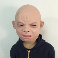 Wholesale Halloween Costume Head Mask - Latex Scary Cry Baby Mask Costume Halloween Creepy Full Head Face Latex Mask Creepy Cry Baby Full Head Face Mask Free Shipping