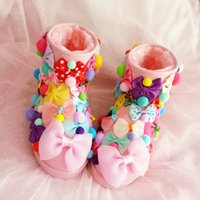 Wholesale Sweet Candy Sale Shipping - 2017 Australia Free Shipping Sale Korean version of the female sweet DIY cute bow candy color ball ball hand warm snow boots warm cotton sho