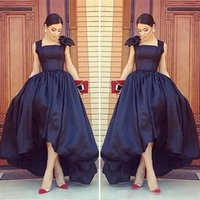 Wholesale One Shoulder Asymmetrical - Arabic High Low Black Formal Prom Party Gowns 2017 Cap Sleeves Scoop Neck Front Short Back Long Plus Size Evening Special Occasion Gowns