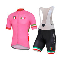 Wholesale italy cycling bib - NEW Customized 2017 100 years Pink ITALY ITALIA mtb road RACING Team Bike Pro Cycling Jersey Sets Bib Shorts Clothing Breathing Air JIASHUO