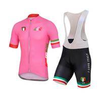 equipo de la bici del camino al por mayor-NUEVO Personalizado 2017 100 años Rosa ITALIA ITALIA mtb road RACING Equipo Bike Pro Ciclismo Jersey Conjuntos Bib Shorts Ropa Respirando Aire JIASHUO