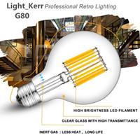 Wholesale Led Bulbs - LED Filament Globe Light Bulb Lead Light 4W 6W LED Light Bulb G80 Energy Saving Warm White Dimmable E26 E27 B22