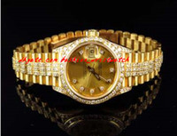 Wholesale Excellent Ladies Watches - Fashion Luxury Wristwatch Excellent Ladies 27 MM President 18k Yellow Gold Diamond Watch Automatic Watch Watches