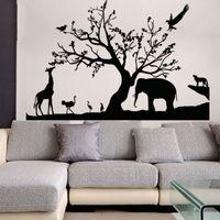 kreş duvar sanat hayvanları toptan satış-Yeni Ağaç Fil Zürafa Duvar Çıkartmaları Karikatür Hayvan Duvar Çıkartmaları Sanat Çocuk Kreş Odası Ev Süslemeleri için