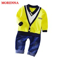 Wholesale Boys Cowboy Shirt - MORENNA 2017 Spring New Boy Fashion Suits T-shirt and Pants 2 Sets of Children's Wear Set Fake Two-piece V-neck Cowboy Suit 0-5 Y