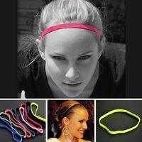 futebol de headband esportivo venda por atacado-Moda Feminina Men Yoga Meninos de Futebol Cor Pura Fina Faixas de Cabelo Esportes Headband Anti-slip Acessórios de cabelo de Borracha Elástica