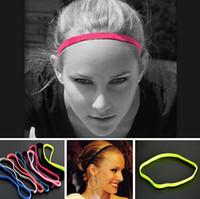 kaymaz bant toptan satış-Moda Kadın Erkek Yoga Erkek Futbol Saf Renk Ince Saç Bantları Spor Bandı kaymaz Elastik Kauçuk saç Aksesuarları