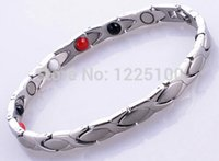 Wholesale Healthy Titanium Germanium Bracelet - Unisex Link Chain Bracelets Stainless Steel Power Energy Health Bracelets Bezel Setting 4 in 1 Magnetic Germanium Healthy Bracelet