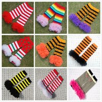 Wholesale Striped Santa Socks - New Halloween Christmas Baby Leg Warmer Infant Santa Striped Colorful Cotton Lace Edge Leg Warmers Child Socks Leggings Tights Sock A7191
