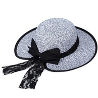 Wholesale Butterfly Straw Hats - Brand new New summer big along the sun hat women lace butterfly straw hat hooded hat M018 with box