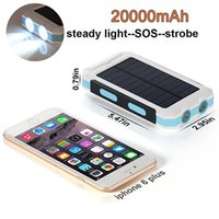 Waterproof 20000mAh Solar Power Bank 5V Sortie 2 Super LED Lights Outdoor Alimentation solaire pour téléphones intelligents Caméras