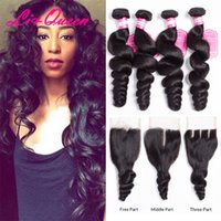 Wholesale Loose Wave Human Hair Unprocessed - Brazilian Virgin Hair with closure Extensions 4 Bundles Brazilian Loose Wave With 4x4 Lace Closure Unprocessed Remy Human Hair Weave