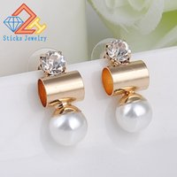 Fashion Trendy Double Sides Perlenohrring Zwei Kugel Ohrstecker