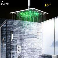 "Wholesale Led Bath Spout - hm 16"" Thermostatic Shower Set & LED Top Showerhead Solid Brass Mixer Wall Mounted Faucet Spout Luxury Bath & Shower Faucets 170305#"